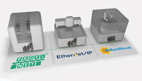 Three gray, stylized machines are each positioned on a panel with the logo of the Ethernet protocols PROFINET, Ethernet/IP and Modbus TCP